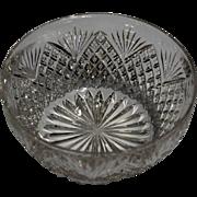 Hawkes Small American Brilliant Cut Glass Bowl -- Strawberry Diamond and Fan