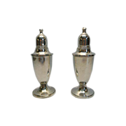 SOLD Sterling Silver Weighted Salt and Pepper Shakers with Glass Inserts by Empire