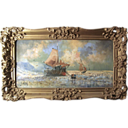 Impressionist Art Oil Painting On Canvas Nordic Ship Fishing Seascape Signed