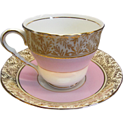 Royal Stafford Tea Cup and Saucer Pink with Gold Trim Bone China England