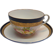 Tea Cup and Saucer Floral, Cobalt Blue and Gold Made in Germany