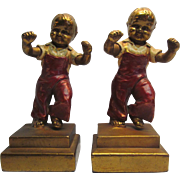 Bookends By Charles Jenings Boys Jumping Armor Bronze 1920 c