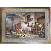 Original Art Oil Painting On Canvas European Barn Scene With Horses and People Signed