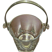 Glass Ice Bucket with Silver-Tone Handle Italy