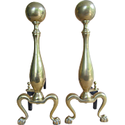 Brass Andirons With Claw Feet, Federal Style, circa 1950