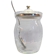 Glass Jelly Jar With Sterling Steiff Lid, Cut Floral Design and Silver-plate Spoon