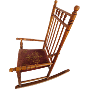 Child's Rocking Chair Wood With Original Cloth Seat