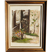Oil Painting On Canvas Wood Shed with Flowers Signed