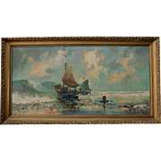 Large Nordic Fishing Ship Scene Oil Painting  on Canvas Post Modern Impressionism Signed