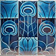Blue Ceramic Pottery Tile Art Deco Style England