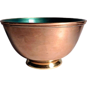 Copper , Brass, and Green Enamel Bowl By Towle # 5003