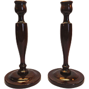 Wooden Hand-turned Candlestick Holders