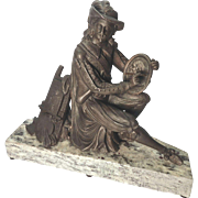 Pot Metal Sculpture of an Artist on Granite Base