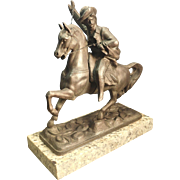 Pot Metal Sculpture of General Custer Riding Horse