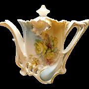 Porcelain Tea Pot with Floral Design