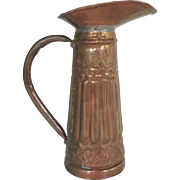 Copper Pitcher Hand Wrought Wide Mouth Spout