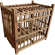 Coal Miner's Bird Cage Wood with Clay Pot