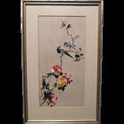 Oriental Silk Needle Work Blue Birds and Flowers