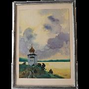 Miniature Water Color on Paper Tallin, Estonia 1989 Signed