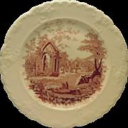 English Abbey Red Transferware Plate