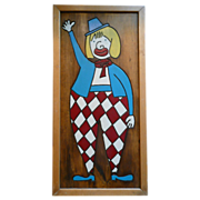 REDUCED Whimsical Harlequin Clown Wood Carved and Hand Painted