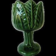 Vintage Green Majolica Pedestal Cabbage Leaf Vase Marked
