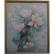 REDUCED Original Canvas Painting Still Life Floral by A. Herbert