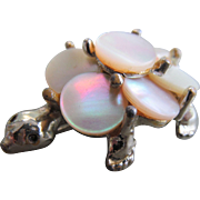 Mother of Pearl Turtle Brooch Pin