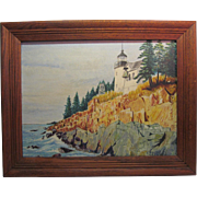 """REDUCED Oil On Canvas Panel Lighthouse By Charles Grund """"Bass Harbor Light Maine"""""""