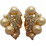 Clip Style Earrings With Simulated Pearls and Clear Rhinestones