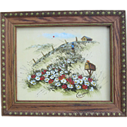 Original Whimsical Landscape Painting on Wood Panel by Corbeau
