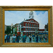 Faneuil Hall Painting Oil On Canvas Plein Air Cityscape Painting Signed