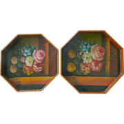 Vintage Wood Trays With Handpainted Floral Design