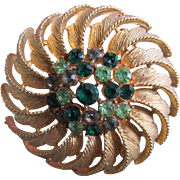 Vintage Green Rhinestone Pin or Brooch With Yellow Metal