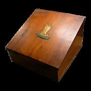 Vintage Cedar Lap Desk or Letter Box With Junket Ship Emblem