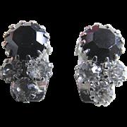 Vintage Black and Clear Rhinestone Clip Earrings