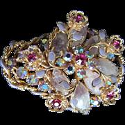 SOLD Flower Basket Pin:Brooch Aurora Borealis, Mixed Stones Lavender Enamel