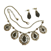 Liz Claiborne Necklace and Pierced Earring Set With Brown Glass Stones