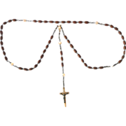 Rosary Mother of Pearl and Hand Carved Wood Beads Jerusalem