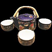 SOLD Cobalt Blue Porcelain Teapot and Cups ArtMark Japan