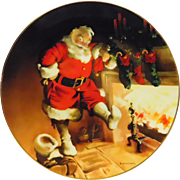 "Edwin Knowles ""Santa By The Fire"" Collector's Plate"