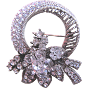 Vintage Clear Rhinestone Pin or Brooch With Floral Wreath Design