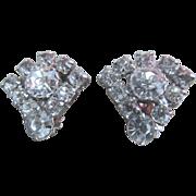 Clear Rhinestone Clip On Earrings