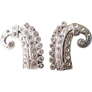 Vintage Pair of Dress Clips Paisley Design With Clear Rhinestones