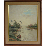 Oil Painting On Canvas Water Fowl By Cornelis Waterman