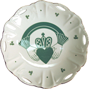 Claddaugh Reticulated Porcelain Bowl with Shamrocks by Geo. Z. Lefton