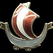 Vintage  Sterling  925 and Enamel Viking Ship Pin
