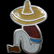 Vintage Enamel Pin Mexican Man Sterling 925