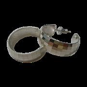 REDUCED Milor Sterling 925 Shimmering Prism Cut Hoop Pierced Earrings.