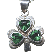 Shamrock Clover Necklace Sterling 925 With Green Rhinestones